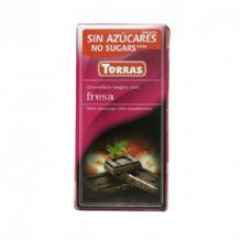 Torras No Added Sugar Dark Chocolate Bar With Strawberries 75g
